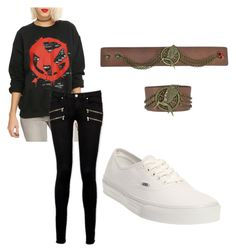 """THG #1"" by fangirlmendes on Polyvore featuring Paige Denim and Vans"