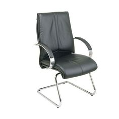 Pro-Line II Deluxe Mid Back Black Visitors Leather Chair with Chrome Finish Sled Base and Padded Polished Aluminum Arms