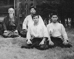 """""""The training was very hard. When we started there were about ten of us, but they all disappeared. So in the end I went to train in the adult class."""" - Hiroshi Isoyama front and center with Aikido Founder Morihei Ueshiba and Morihiro Saito in Iwama. More from Isoyama Sensei in """"An interview with Aikido Shihan Hiroshi Isoyama"""", on the Aikido Sangenkai blog: https://www.aikidosangenkai.org/blog/an-interview-aikido-shihan-hiroshi-isoyama-part-1/"""