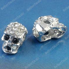 5pcs Silvery Skull Crystal Rhinestone Findings Beads Jewelry Makings 3mm Hole