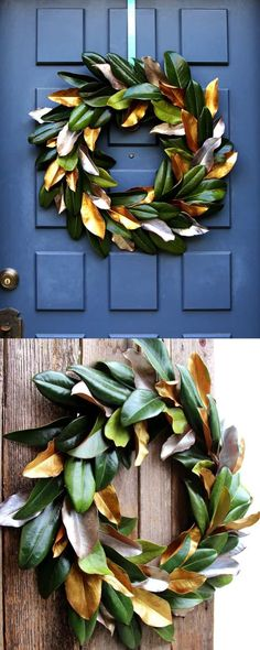 Easy tutorial & video on how to make a beautiful magnolia wreath for free! It is long-lasting & looks amazing for Thanksgiving, Christmas, or year round!