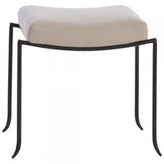 Reminiscent of the graceful silhouette of a mosquito's leg, this ottoman works well in a bathroom, around a center table in a gallery hall, in front of a fireplace or just about anywhere. Natural iron legs with natural linen seat.