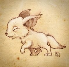 Cute fox.Traditional drawing with digital retouch