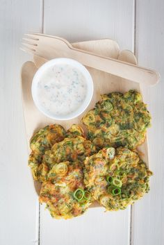 Spring Onion Fritters With Minty Whipped Feta