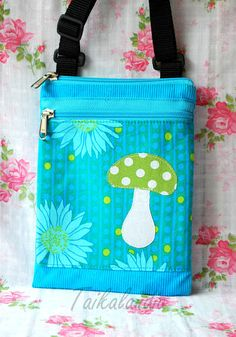 Turquoise Hand dyed Corduroy Mushroom Messenger Bag  by TaikaLand