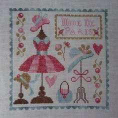 French Cross Stitch Pattern from Tralala - Mode de Paris (Paris Fashion) - Design by Corinne Rigaudeau