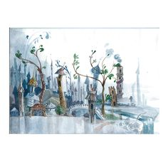 watercolor illustration glass city on Behance