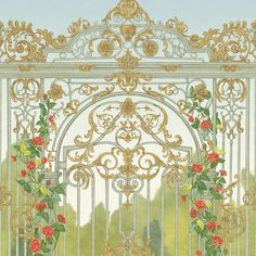 Tijou Gate | Cole & Son Cole And Son, Riverside Garden, Scenic Wallpaper, Acanthus, Blooming Flowers, Spring Green, Designer Wallpaper, The Hamptons, Necklaces