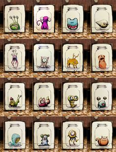 All 16 Mason Jar Critters (The Whole Set) by Kudulah - cute
