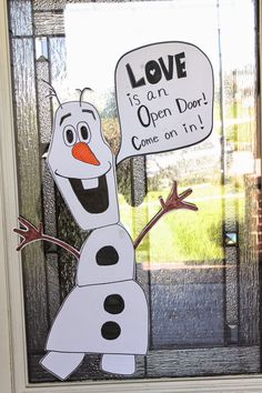 "Olaf Door Decoration #frozenparty #olafdecoration - maybe instead, write ""kindergarten is an open door! Come on in!"""