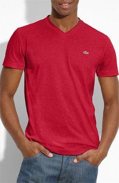 Lacoste V-Neck T-Shirt- Red | Nordstrom