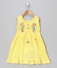 Look at this Little Cotton Dress Yellow Lily Crisscross Dress - Toddler & Girls on #zulily today!