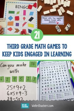 21 Third Grade Math Games To Keep Kids Engaged in Learning. Spice up your third grade math routine with hands-on games that teach multiplication, division, rounding, fractions, and more Common Core skills. Third Grade Science Projects, Third Grade Math Games, Division Math Games, Third Grade Centers, Grade 3 Math, Math Projects, Sixth Grade, School Projects, Learning Fractions