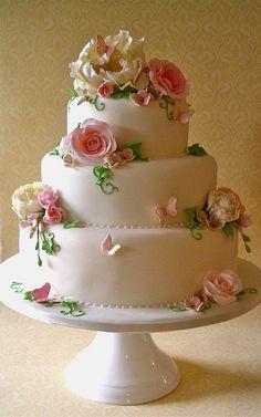 Ivory, Pink & green Fleur wedding cake by nice icing, via Flickr