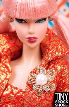 Barbie Gold and Rhinestone Filagree Pearl Mini Pin