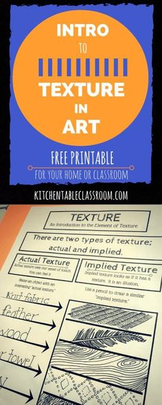 The Element of Texture in Art with free printable Making the connection between texture and art ought to be easy. Kids touch everything! This intro to the element texture in art comes with a free printable! High School Art, Middle School Art, Elements Of Art Texture, Art Elements, Types Of Texture, Elements Of Design, Documents D'art, Art Handouts, Task Boxes