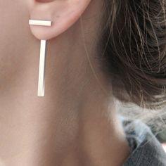 Fashion Punk Gold Silver Metal Letter T Shape Stud Earrings Women Jewelry