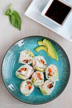 Shrimp, California Avocado & Rice Noodle Spring Rolls Recipe   cookincanuck.com