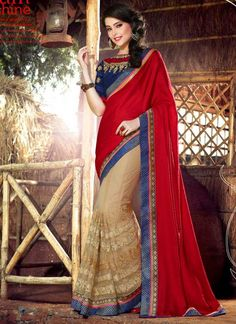Apple Red And Cream Soft Net With Work Half N Half Saree http://www.angelnx.com/