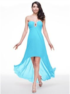 A-Line/Princess Sweetheart Asymmetrical Chiffon Prom Dress With Ruffle Beading Sequins