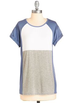 Colorblock the Line Top - Mid-length, Jersey, Knit, Blue, Grey, White, Solid, Casual, Colorblocking, Short Sleeves, Spring, Summer