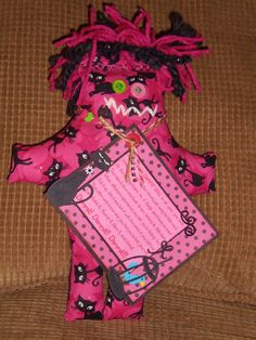 Sparkly Cats Dammit Doll - Laurie's DDoLLs