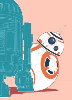 R2-D2 and BB-8 by Jenn Tran