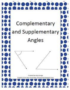"""FREE MATH LESSON - """"Complementary and Supplementary Angles Practice"""" - Go to The Best of Teacher Entrepreneurs for this and hundreds of free lessons.  7th - 12th Grade  #FreeLesson  #Math   http://www.thebestofteacherentrepreneurs.net/2013/06/free-math-lesson-complementary-and.html"""