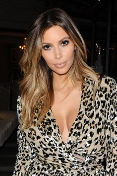 Kim K is on her way back to blonde with this great ombre look!