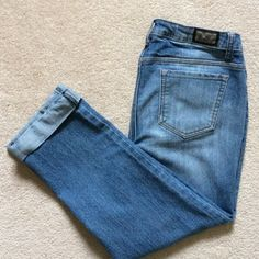 Earl Jean cropped, cuffed denim Perfect condition. Slouchy fit. Cute rolled w/combat boots for day tripping or heels and a sheer top for evening hot spots. Pants Ankle & Cropped
