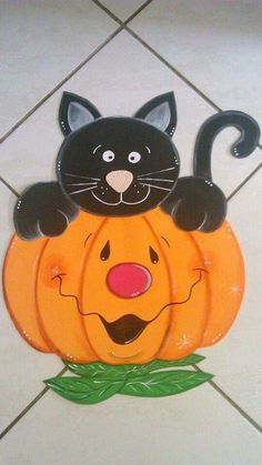 Pumpkin and cat Moldes Halloween, Adornos Halloween, Manualidades Halloween, Halloween Ghosts, Halloween Cards, Happy Halloween, Halloween Decorations, Autumn Crafts, Fall Crafts For Kids