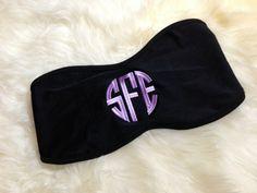 Monogram Bandeau Bikini Top. $39.99, via Etsy.