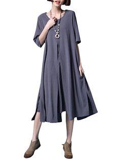 Mulheres elegantes meia manga do vintage cor pura vestido solto