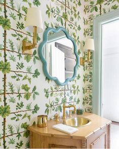 Buy Pierre Frey Designer Wallpaper at a discount using Maison CE's Trade Only purchasing service. Fabric Wallpaper, Of Wallpaper, Pierre Frey Fabric, Tiny Powder Rooms, Dose Of Colors, Tiny Spaces, Beautiful Space, Interior Design Inspiration, Bathroom Inspiration