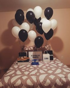 Bedroom surprise for him #balloons #gift #husbandgift