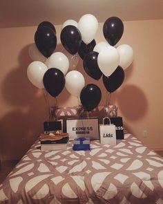 Bedroom surprise for him #balloons #gift #husbandgift