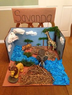Animal diorama projects gifted and advanced student activiti Ecosystems Projects, Science Projects, School Projects, Projects For Kids, Kids Crafts, Diy And Crafts, Savanna Biome, Savanna Ecosystem, Animal Habitats