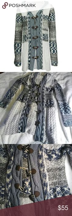 "Free People Long Hooded Cardigan Gently used  Mixed media w/ toggle ""buttons""  Hooded with pockets Free People Sweaters"
