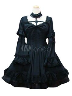Sweet Lolita Dress OP Black Long Sleeve Lolita One Piece Dress