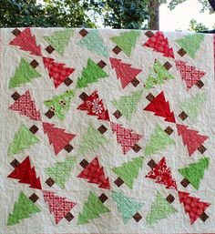 """Christmas Treetopia"" quilt pattern, 62 x 62"", by Frivolous Necessity"