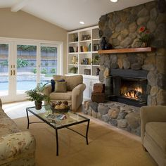 Living Room Stone Fireplace Design Pictures Remodel Decor And Ideas