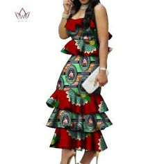 Online Shop Fashion Multilayer Draped Print Top & Skirt Sets Bazin Riche African Wax Dresses for Women 2 Pieces Skirts Sets Clothing African Dresses For Women, African Attire, African Wear, African Fashion Dresses, African Women, African Clothes, African Fashion Designers, African Print Fashion, Fashion Prints