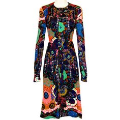 Colin Glascoe Dress, Exotic Psychedelic Bohemian, England, Vintage 1960s