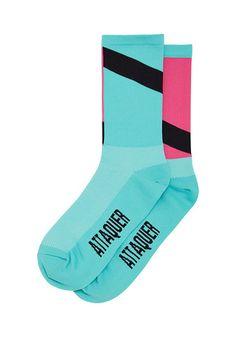 Socks Performance Teal / Soft Pink Cycling Socks Attaquer - 2