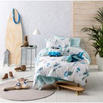 Hiccups Surfari Blue Single Quilt Cover Set