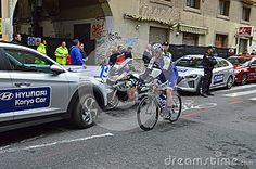 A Team Ettix Quick Floors Rider Racing through the narrow streets of Alicante during the 2017  La Vuelta Valencia.