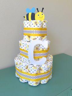 Bumble Bee Diaper Cake Honest Diaper Cake by BeachBabyDiaperCakes