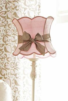 Pink and taupe lampshade
