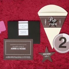 movie theme invites, table numbers