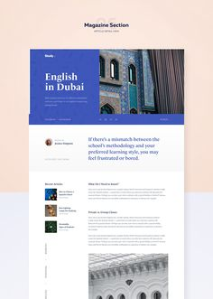 Our new project 🎓 We did a major brand redesign for a company offering language courses for both individual students and corporate clients. Blog Layout, Website Layout, Web Layout, Magazine Design, Blog Website Design, Presentation Layout, Ui Web, Web Design Trends, Article Design